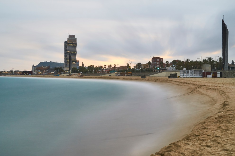 The Barcelona Beach from the Poble Nou district.