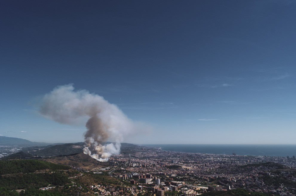 A bush fire on a hill just outside of Barcelona.