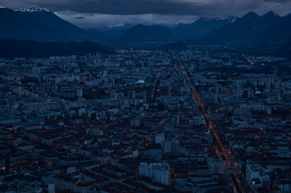 Blue hour at Grenoble and the French Alps from the Bastille